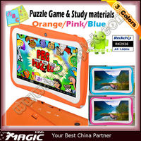 Colorful kids study android tablets with 2 cameras dual pc