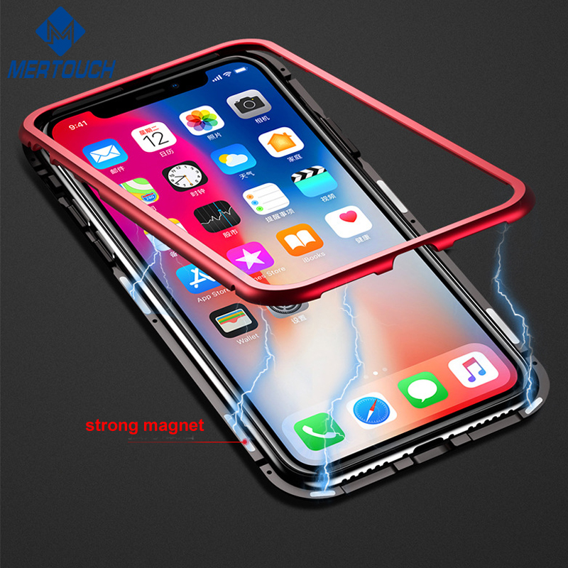 Magnetic Aluminum Bumper 9H tempered glass back cover case for <strong>iphone</strong> X 8 8plus Magnetic adsorption phone case