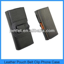 Deluxe Black Leather Flip Pouch Clip Holster For Apple iPhone 5 Belt Case Cover