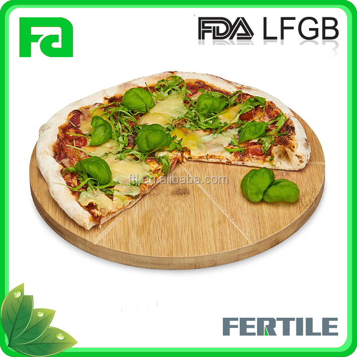 Hot Selling Eco-Friendly Round Bamboo Pizza Cake Serving Cutting Platter Board Paddle Tray in 6 Sections