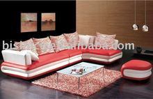 red and white color genuine leather sofa with chaise longue and small seat B400034