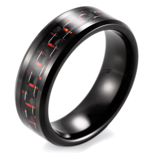 8mm High Polished Black Tungsten Rings Inlay Red Black Carbon Wedding Ring