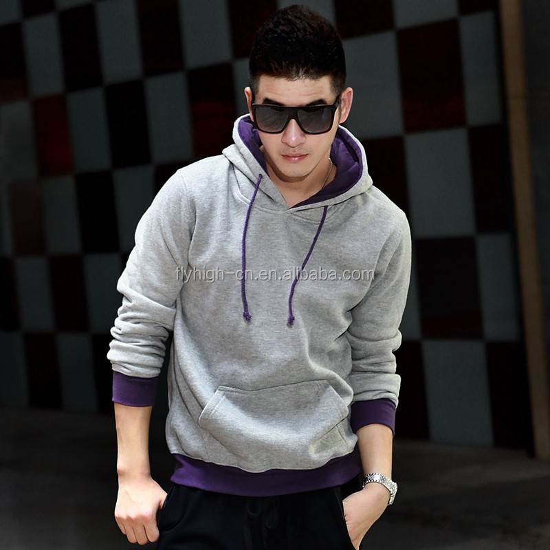 men stylish no zipper hoodie jacket with pockets /neoprene hoodie