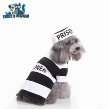 Wholesale Halloween Dogs Clothes Set With Hat Striped Prison Uniform Jackets Costume Coats For Dog