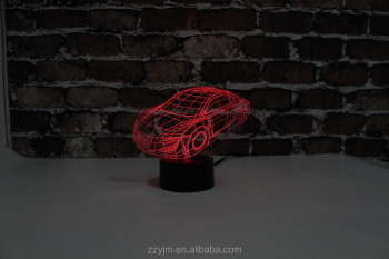 Free Shipping, YJM-2907, 3D Automobile ,3D LED Decorated Colorful Nightlights, Table or Bed Lamp with Touch Control