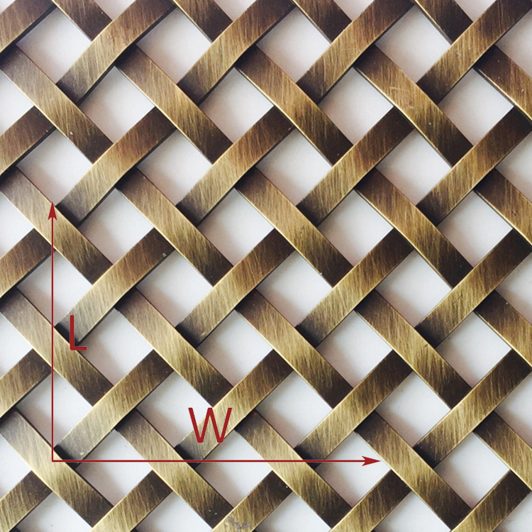 Antique Brass Plated flat Wire Mesh for decoration