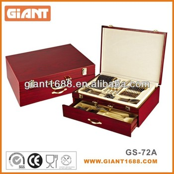 72pcs Camping Cutlery Set With Wooden Case / leather case
