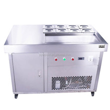 Single square pan+8 keep fresh tanks roll fried ice cream machine