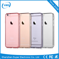 Mobile Phone Anti-scratch Electroplating Tpu Case for iPhone 6, 0.5mm Super Slim Crystal TPU Cover for iPhone 6s