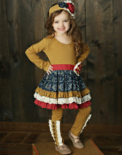 CONICE NINI Brand trendy wholesale mustard pie ruffle clothing sets child boutique outfits