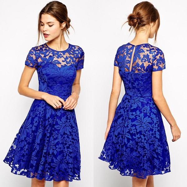 Evening party fashion designs knee length short latest formal lace dress patterns dress fashion for woman