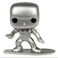 custom made vinyl bobblehead toy for kid/customing life-like 6 inch all silver strong surfing man bobblehead toy for home decor