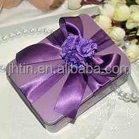 Gold supplier sell customized luxury wedding door gift box food can with silk ribbon and flower