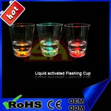 Water Active LED Glow Glass , Light up LED Flashing Shot Glass,Led flashing cup for party and bar