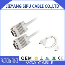 Premium HD15 male-to-male VGA cable with ferrites core for computer to LED TV