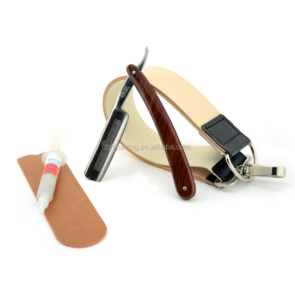Gold Dollar 800 Vintage Cut Throat Straight Razor with Leather Strop Sharpen Paste