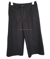 New Design Simple Woolen Black And Red Stripe Racing Wide Leg Pants
