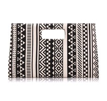 China Factory Wholesale Handle Clutch Canvas Purse Bag Ethnic Style magazine Clutch bag, White and Black Ladies Briefcase