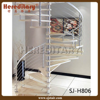 white color metal and solid wood small spiral stair price for indoor