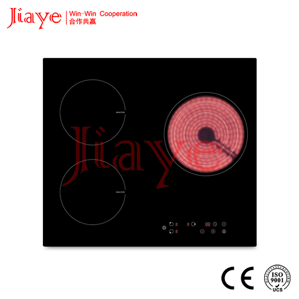 3 burners induction with ceramic combined cooker hob/double electric high temperature control electric hob JY-ICD3001
