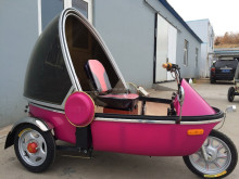 velo taxi electric power tuk-tuk three wheels for passenger with rain cover for Asia market