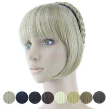 8 Colors Braid Hair Bangs with Clip Blonde Black Synthetic Hair Pieces High Temperature Fiber Hair Fringe
