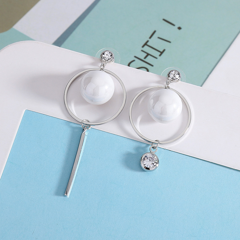 Korean pearls pearl asymmetrical long earrings female jelly color studs earrings jewelry