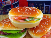 Sanqi Fake food New arrival PU mini fake hamburger for Fridge magnet in arts and crafts