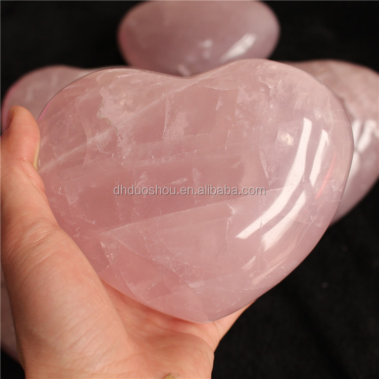 Natural Heart Shaped Rocks Rose Quartz Crystal Large Puffy Heart Gift