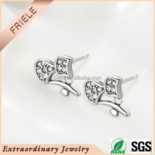 Platinum Plated Sterling Silver earring wholesale with Cubic Zirconia Earring Studs for Lady