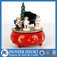 christmas wooden music box with angel decorated carrousel music box