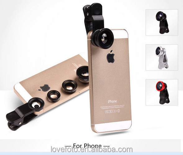 Universal 3 In 1 camera mobile phone Lenses Kit For Iphone