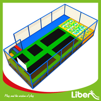 LIBEN Play Sports Pink Hexagon Olympic Size Trampoline with Basketball Basket and Soft Play Stair