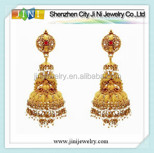 indian style gold jhumka earrings design for women