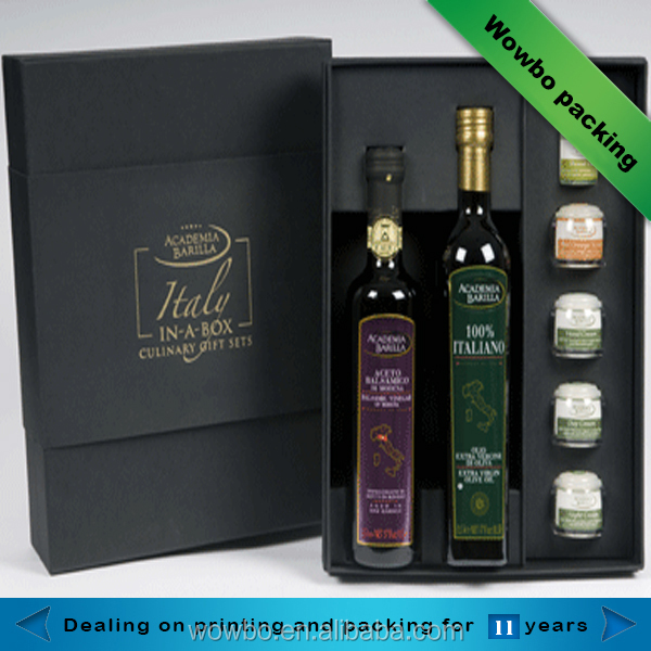 luxury black matt lamination olive oil paper packaging boxes with lid