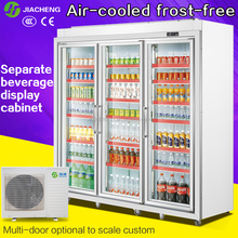 Jiacheng remote system upright beverage display cooler freezer refrigerator ,3 glass doors 2100L 2050F3