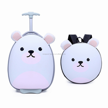 Cute Girls White LED Wheels Rollar Travel Suitcase and Backpack 2 Pcs Set