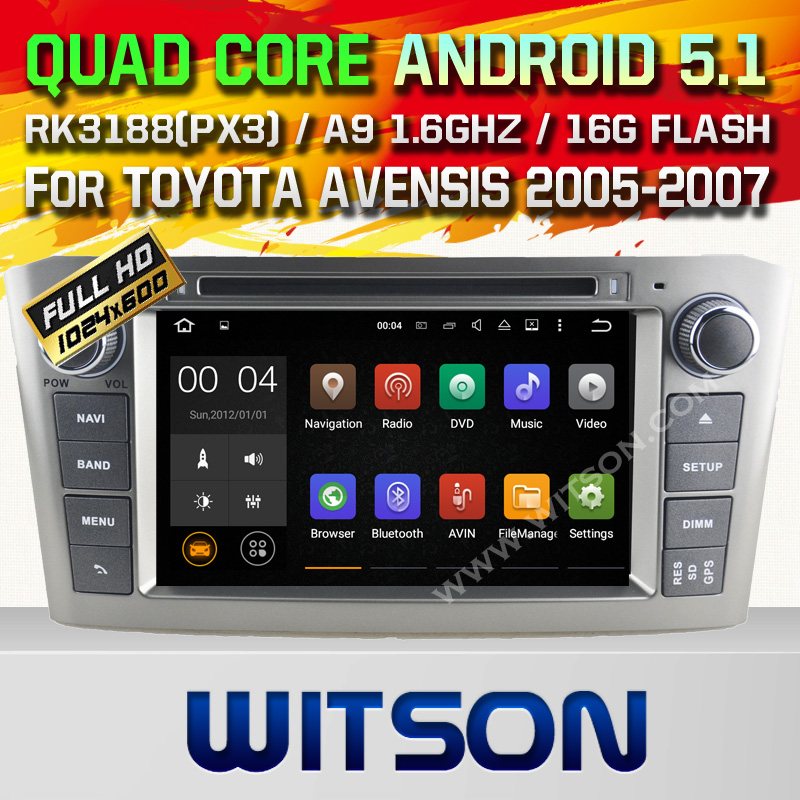 WITSON Android 5.1 DOUBLE DIN CAR DVD RADIO GPS For TOYOTA AVENSIS 2005-2007 WITH CHIPSET 1080P 16G ROM WIFI 3G INTERNET DVR