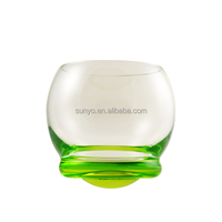 Green solid color leadfree customized size popular stemless wine whisky glass decanter in stocks special design