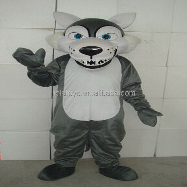 Hola realistic wolf costume/cartoon costume mascot for adult