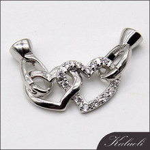 Wholesale heart 925 sterling silver clasp for making jewelry