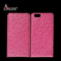 Good quality real ostrich leather case for iphone 6s