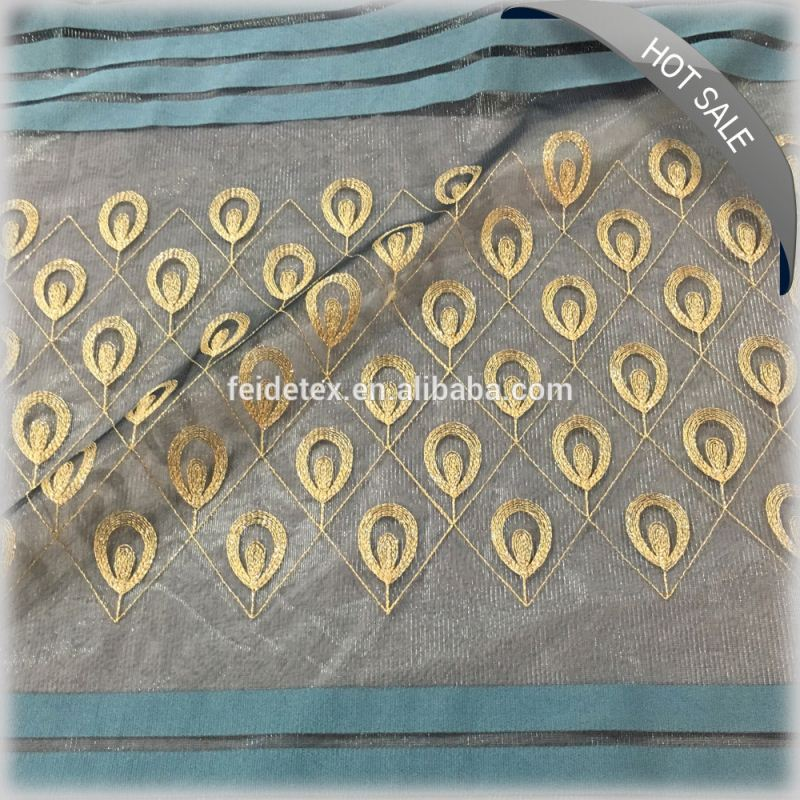 Wholesale mesh metalic rope embroidery curtain fabrics made in