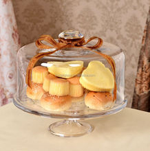 Vintage lead-free glass cake cover with base,British-style glass dome cover