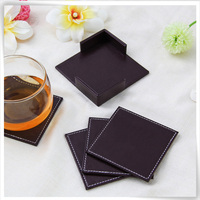 High end luxury decorative beer PU leather cup coaster