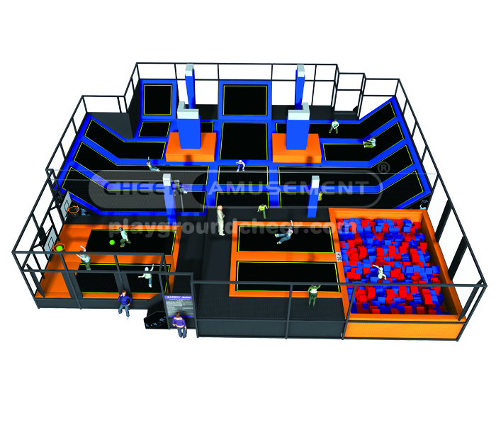 Cheer Amusement customizable functional indoor trampoline park with foam pit and basketball course
