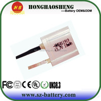 Max size 1*19*19mm ultra thin 1mm 3.7v battery 10mah lipo battey