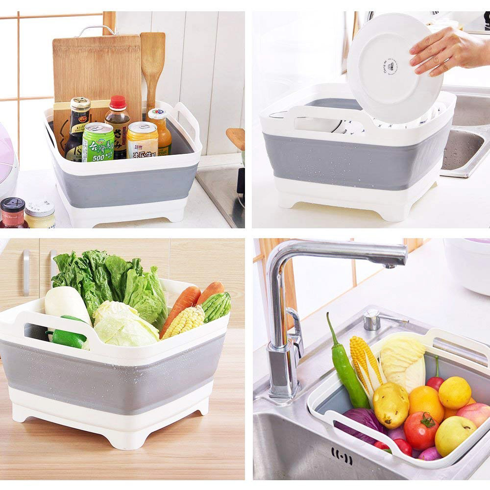 Best Selling Hot Chinese Products Collapsible Dishpan With Colander Kitchen Sink
