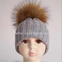 beanie hat with raccoon fake fur pom pom,custom metal plate snapback hat, winter hat