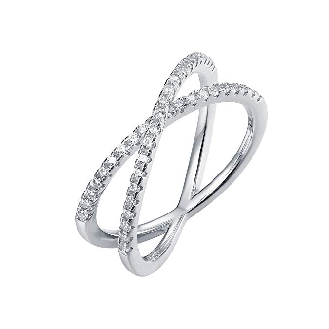 Rhodium plated X ring simulated diamond CZ cross ring for women